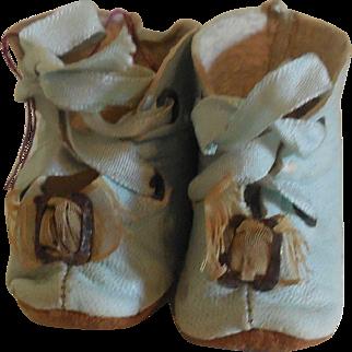 Pale Aqua Leather Boots