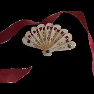 Tiny Doll Size Fan Burgundy Silk Ribbon French Fashion