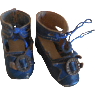 Tiny Blue Leather French Fashion Shoes Keystone Size 1 with Heels