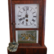 Ansonia Mantle Clock  with Picture of Children Playing Blindman's Bluff