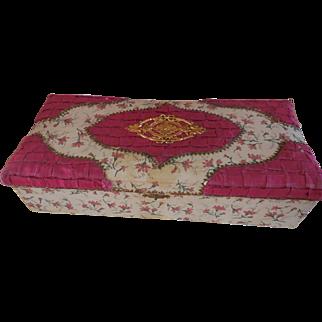 "Ornate 10 1/2"" Candy Container Fuchsia Fabric"