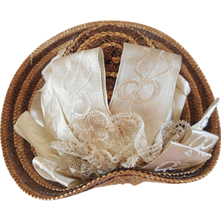 2 Color Straw Hat with Ribbon and Lace Decoration