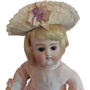 Straw Hat w/ Ribbons and Lace for Small Doll