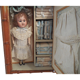 """8"""" Doll in Faux Bamboo Armoire w/ Accessories"""