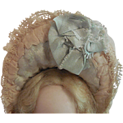 Silk and Velvet Bebe Hat for Small French or German Doll - Red Tag Sale Item
