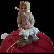 Tiny Papermache Lamb on Wheels