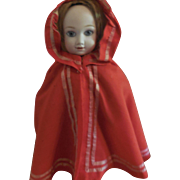 Red Wool Hand Sewn Hooded Cape