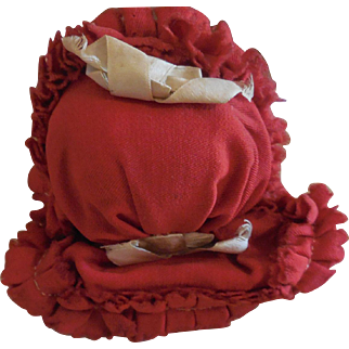 Tiny Red Wool Capote Bonnet for French Fashion or Small Bisque Bebe