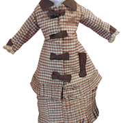 Small 2 Pc French Fashion Dress Silk Plaid Brown Trim