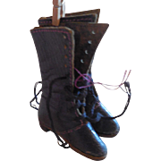 """Leather Lace up Boots 2"""" Long 2 1/2"""" Tall French Fashion China Paper Mache"""