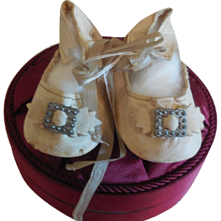 """3"""" French White Leather Shoes for French Bebe"""