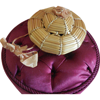 Tiny Borrelet Straw Hat for All Bisque Baby or Small Bebe