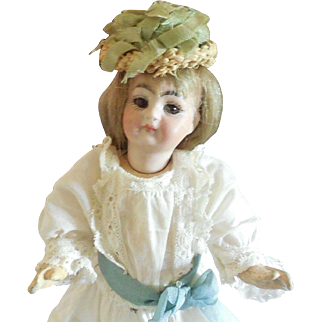 "Tiny 7"" Kestner Bisque Head Doll Brown Eyes Closed Mouth Cute Body"