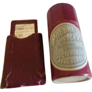 2 Burgundy Doll Accessories Mirror in Case and Powder Tube