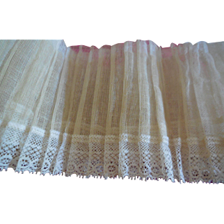 1 Yard of Pleated Gauze and Lace Trim  Doll Clothes