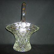 L.E. Smith Crystal Brides Basket with Applied Handle