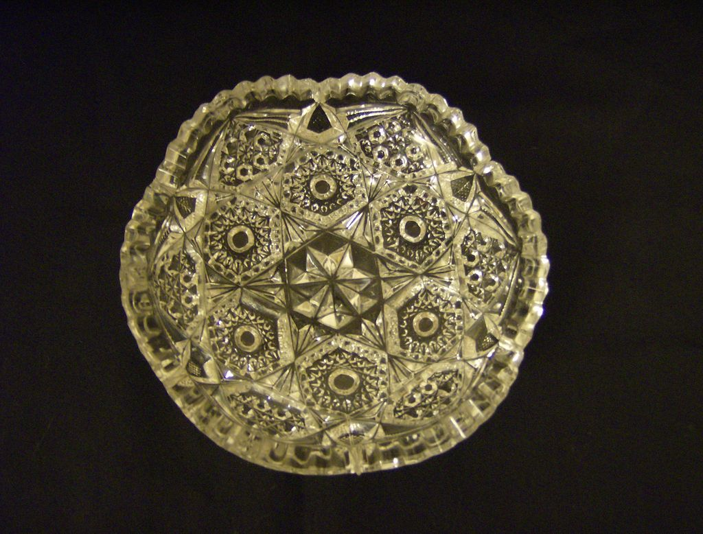 American Brilliant  Hobstar and Button Bowl