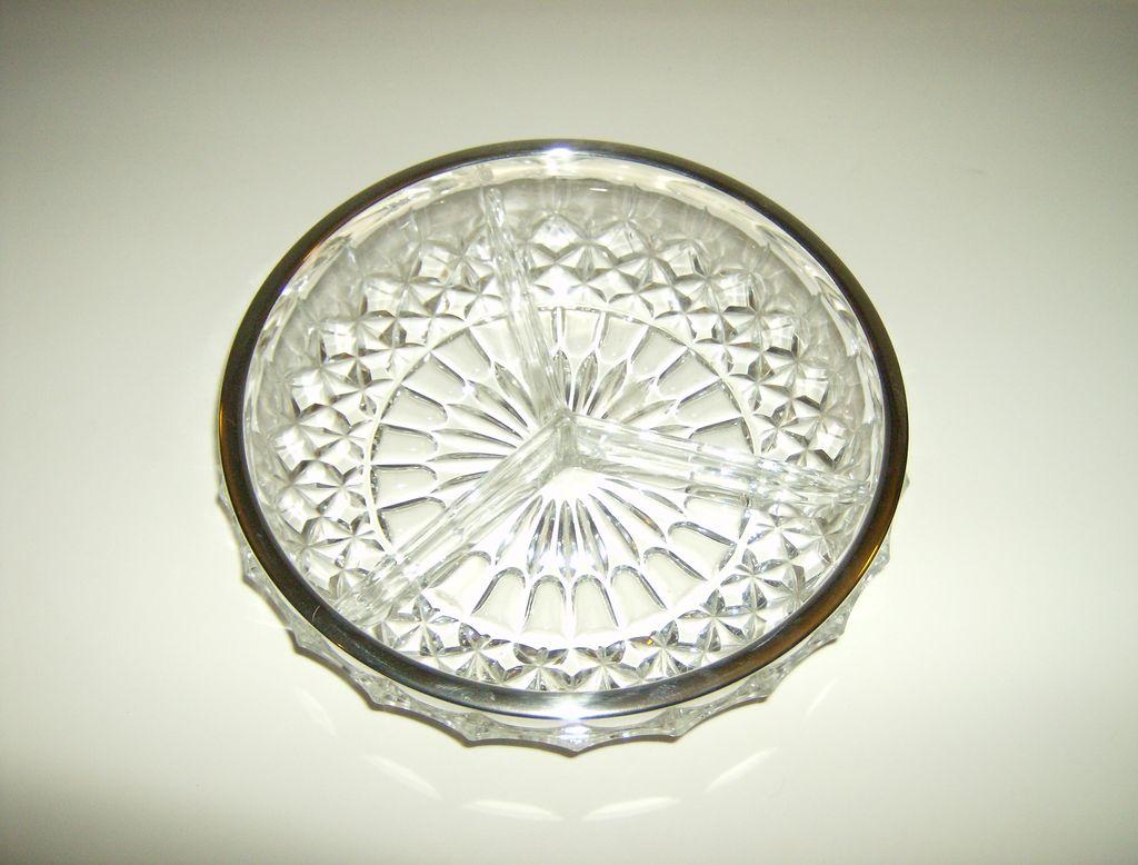 Cut Glass 3-Part Relish Dish ~ Silverplate Rim