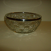 Cut Glass Bowl with Silverplate Rim ~ England