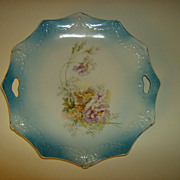 Hand Painted Porcelain Handled Cake Plate