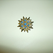 Gold Tone Flower Brooch ~ Blue Stones ~ Fleur De Lis