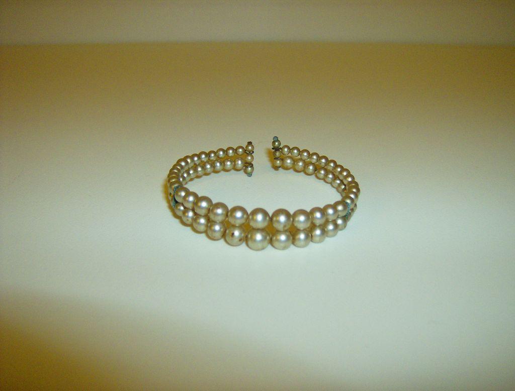 Double Strand Faux Pearl Wrap Bracelet