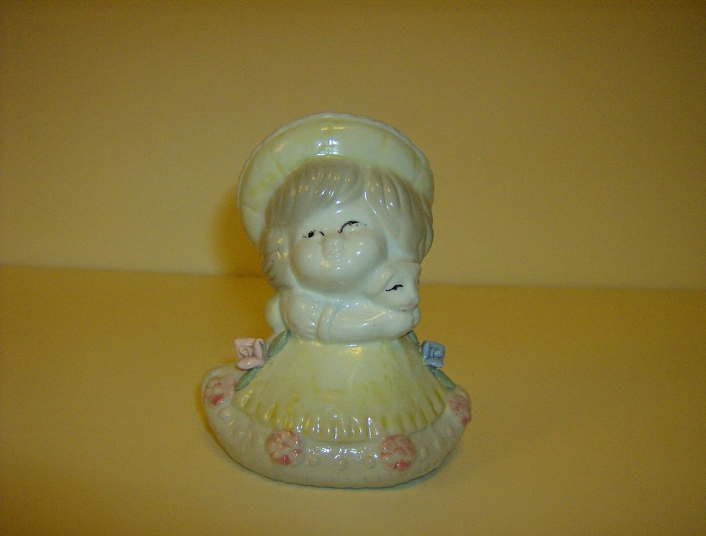 Porcelain Girl Figurine ~ Applied Flowers