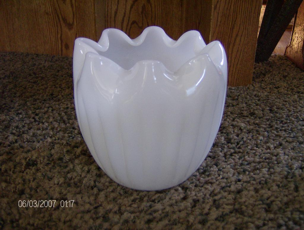 Translucent Milk Glass Rose Bowl with Ruffled Edge