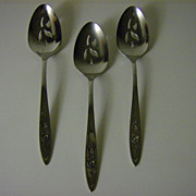 Oneida Community Stainless Flatware ~ My Rose Pattern ~ Pierced Serving Spoons