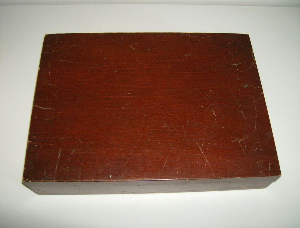 Vintage Wood Silverware Flatware Storage Box Chest