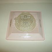 Pink Plastic ~ Ceiling Light Fixture ~ 1950's