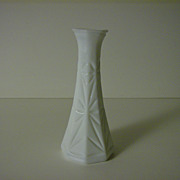 Milk Glass Bud Vase ~ Hoosier Glass ~ Starburst