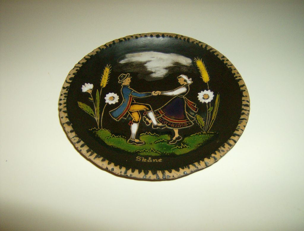 Skane ~ Hand Painted Plate ~  Dancing Couple