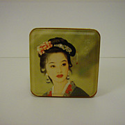 Moon Cake Tin with Geisha Girl Artwork on Lid