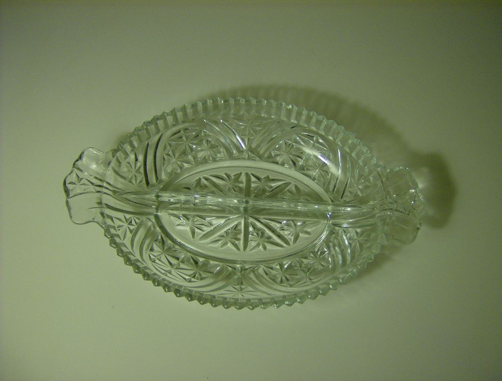 Anchor Hocking Stars & Bars Divided Relish Dish