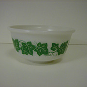 Hazel Atlas Milk Glass Mixing Bowl with Ivy 1950's