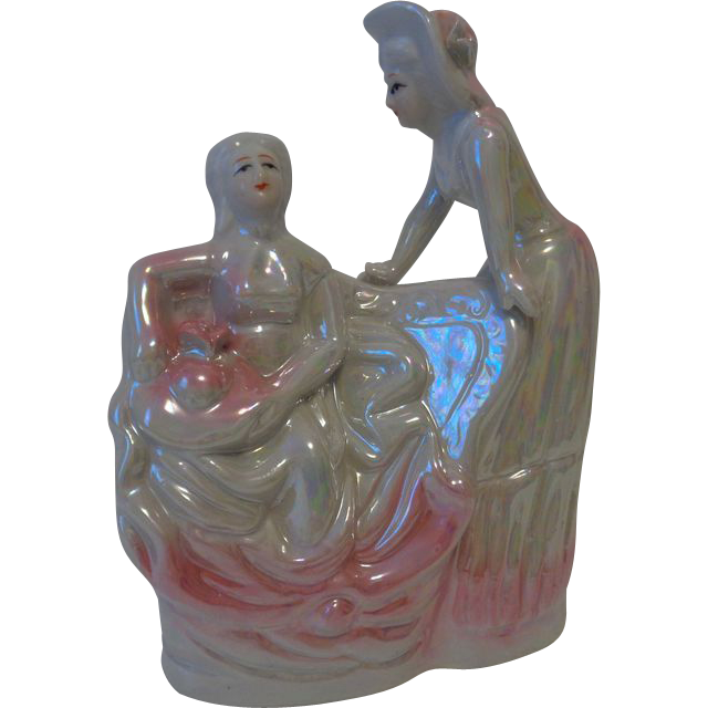 Pink Lusterware Victorian Ladies Figurine