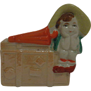 Ceramic Pottery Planter Girl with Umbrella Japan