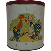 Tin Litho Canister  Dutch Boy & Girl 1950's