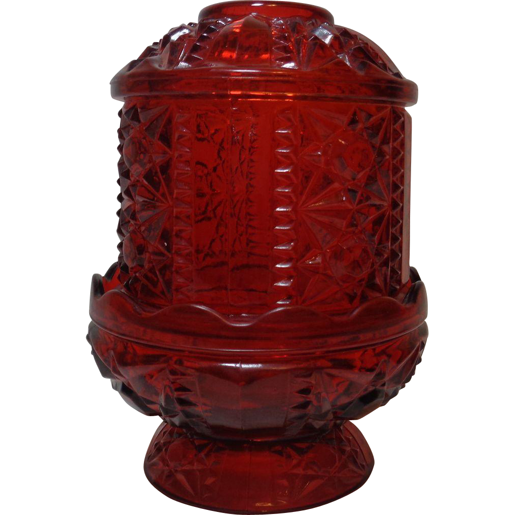 Fairy Lamp Indiana Glass Red Flash