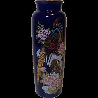 Cobalt Blue Vase with Pheasants