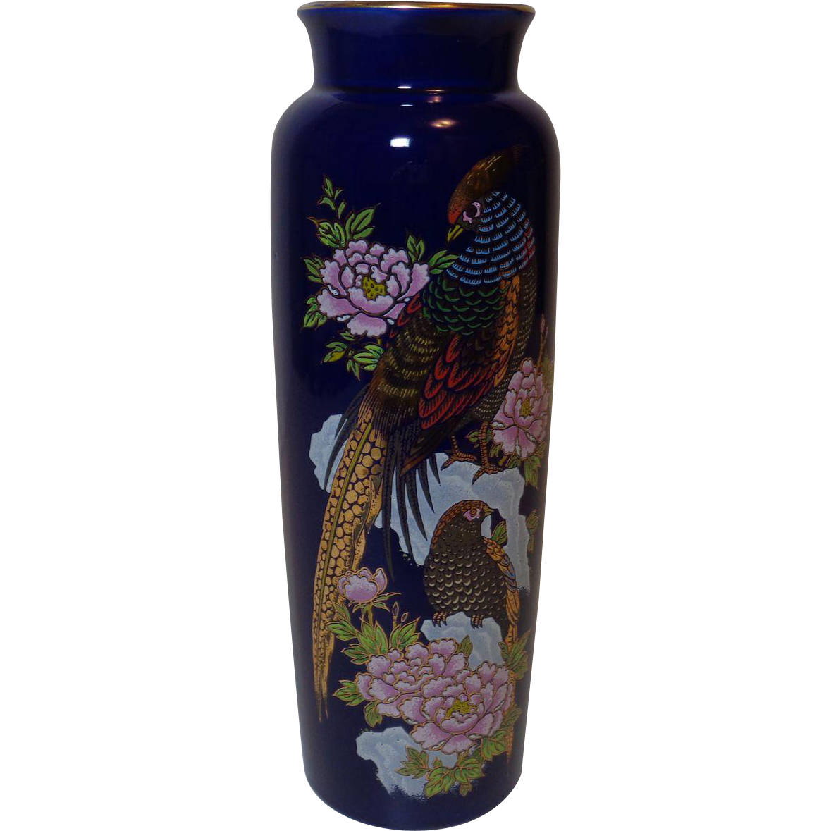Cobalt Blue Vase with Pheasants