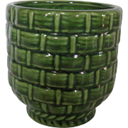Haeger Pottery Green Planter Basket Weave # 131