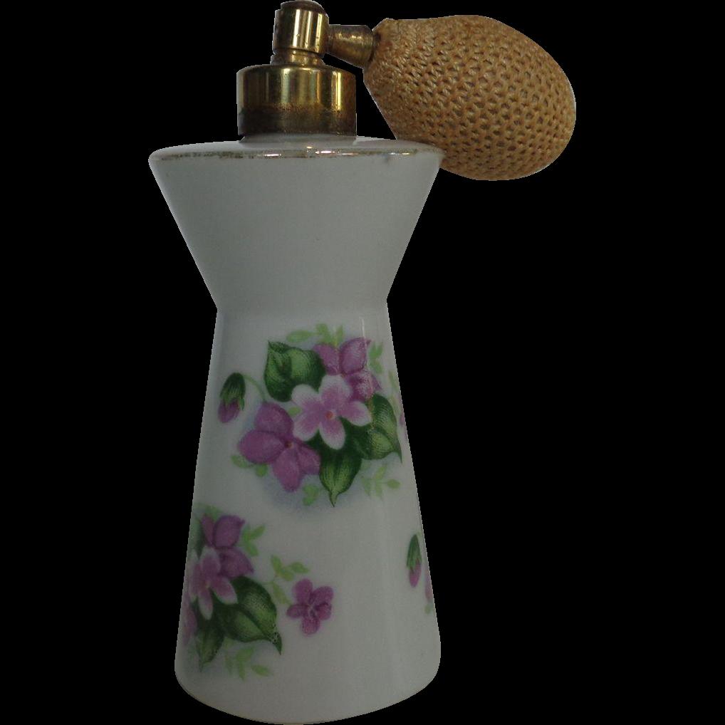 Porcelain Perfume Atomizer Purple Violets