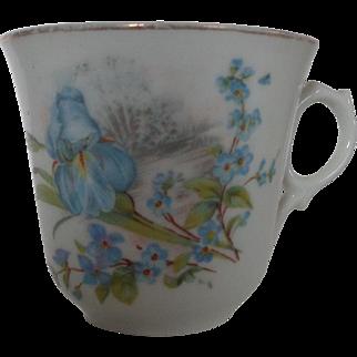 Bone China Tea Cup Iris and Forget Me Knots