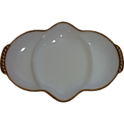Fire-King Milk Glass Golden Anniversary Divided Dish