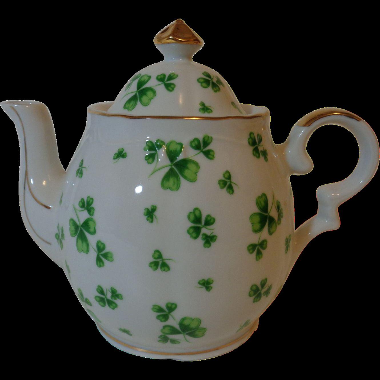 Lefton China Musical Teapot Shamrock From Marysmenagerie