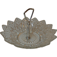 Federal Glass Handled Tidbit Bowl Petal Pattern