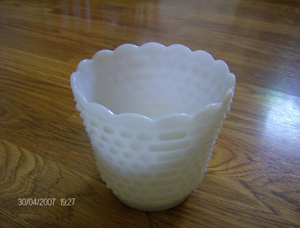 Milk Glass Planter Hobnail and Jacobs Ladder Like Pattern