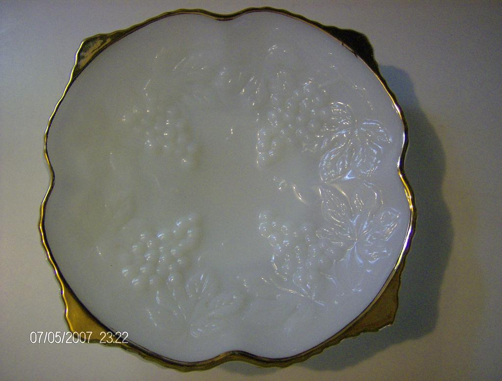 Gold Trim Milk Glass Low Bowl with Grape Vine